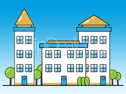Apartment Building Shows Condominium Property 3d Illustration