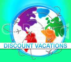 Discount Vacations Showing Promo Vacation 3d Illustration