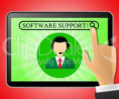 Software Support Tablet Representing Online Assistance 3d ILlust