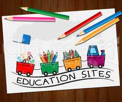 Educational Sites Shows Learning Sites 3d Illustration
