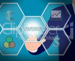 Savings Icons Means Cash And Wealthy 3d Illustration