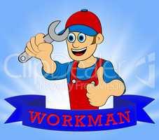 Workman Laborer Displays Building Worker 3d Illustration