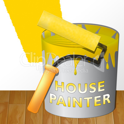 House Painter Showing Home Painting 3d Illustration