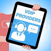 Voip Providers Tablet Showing Internet Voice 3d Illustration