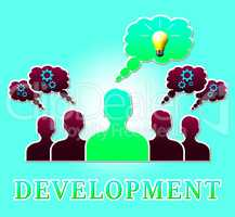 Development Lightbulb Means Growth Progress 3d Illustration