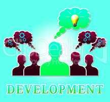 Development Lightbulb Means Growth Progress 3d Illustration