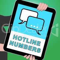 Hotline Numbers Tablet Shows Online Help 3d Illustration