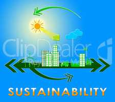 Sustainability Town Means Eco Recycling 3d Illustration