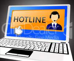 Hotline Laptop Showing Online Help 3d Illustration