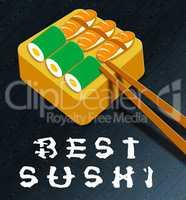 Best Sushi Showing Japan Cuisine 3d Illustration