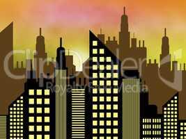 Skyscraper Buildings Represents Offices Cityscape 3d Illustratio