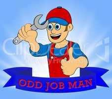 Odd Job Man Displays House Repair 3d Illustration