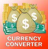 Currency Converter Shows Money Exchange 3d Illustration