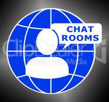 Chat Rooms Shows Internet Messages 3d Illustration