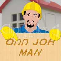 Odd Job Man Showing House Repair 3d Illustration