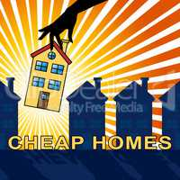 Cheap Homes Shows Real Estate 3d Illustration