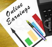 Online Earnings Meaning Internet Revenue 3d Illustration