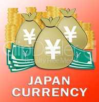 Japan Currency Means Japanese Yen 3d Illustration