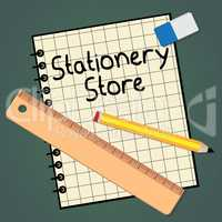 Stationery Store Represents Office Supplies Shops 3d Illustratio