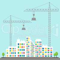 Apartment Construction Describes Building Condominiums 3d Illust