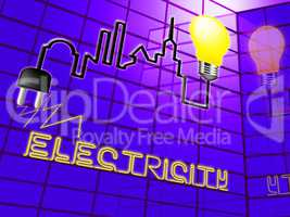 Electricity Light Bulb Means Power Source 3d Illustration