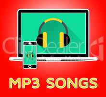 Mp3 Songs Showing Melody Listening 3d Illustration