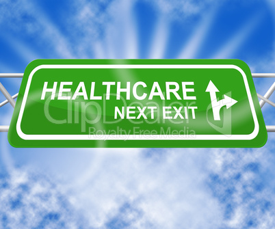 Healthcare Sign Means Medical Wellbeing 3d Illustration