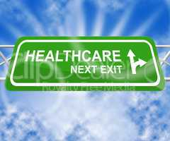 Healthcare Sign Means Medical Wellbeing 3d Illustration