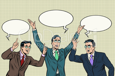 Three speakers, gestures businessmen