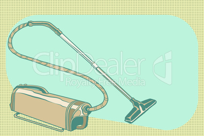 retro vacuum cleaner vintage illustration