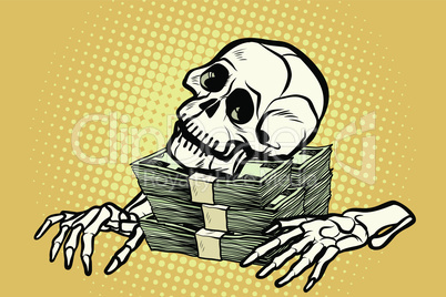 skeleton skull dollar money, wealth and greed