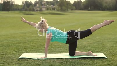Attractive adult woman practicing yoga in park