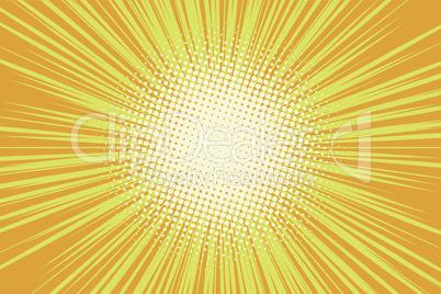 Orange rays pop art comic background