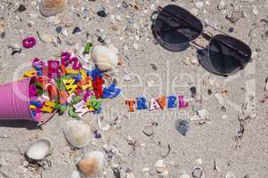 Word travel of wooden colorful letters