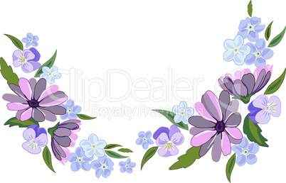 Beautiful violet and nots flowers illustration on white background