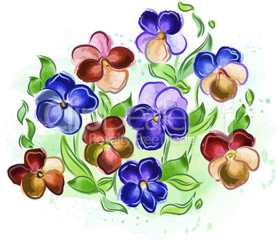 Watercolor flowers violets and pansy and leaves
