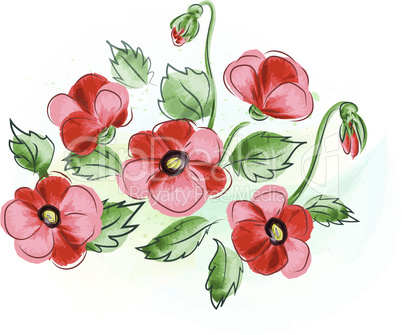 beautiful gift card with red watercolor  poppies bouquet