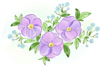 Watercolor purple and blue flowers with leaves