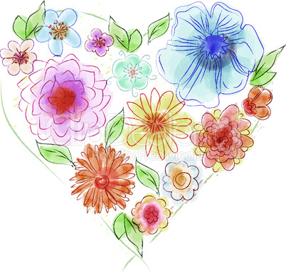 Watercolor heart of flowers