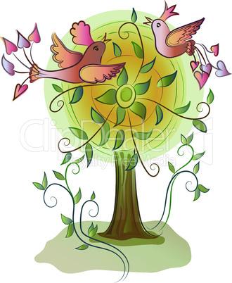 beatiful colorful happy birds on tree