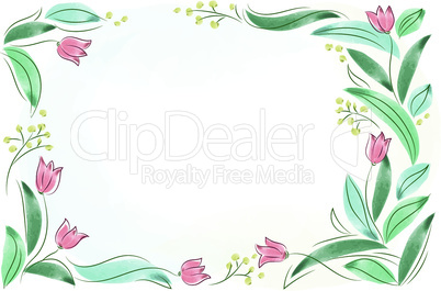 Floral frame with pink spring flowers. Tulips posy border isolated.