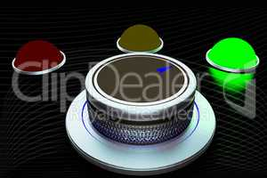 Rotary knob with colored button-display, 3d Illustration