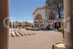 Open seating and ornate building with pillars of the Spreckels O