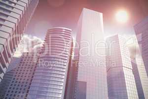 Composite image of three dimensional image of tall buildings