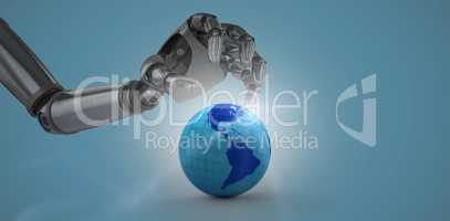 Composite image of three dimensional of chrome robotic hand with placard