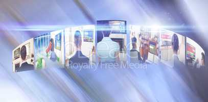 Composite image of digitally generated image of various screens representing business people
