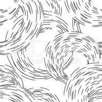 Abstract ripple line circle seamless pattern. Wavy swirl ornamen