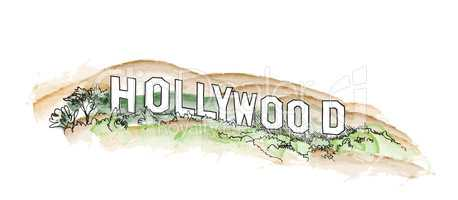 Hollywood sign watercolor illustration. Hollywood hill landscape