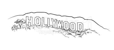 Hollywood sign engraving. Hollywood hill  landscape view