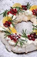Christmas wreath made of meringue